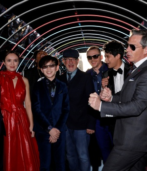 "Director Spielberg poses with cast members Sheridan, Cooke, Waithe, Zhao, Pegg, Morisaki and Mendelsohn at the premiere of ""Ready Player One"" in Los Angeles, California"