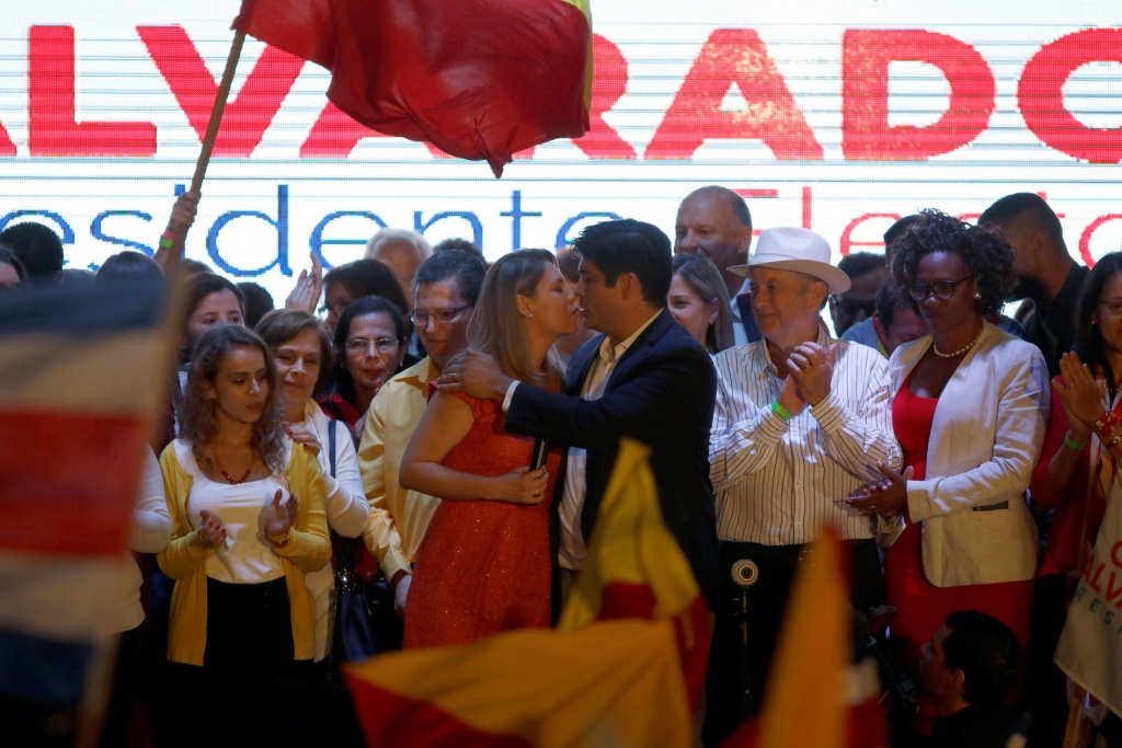 Carlos Alvarado Quesada, presidential candidate of the ruling Citizens' Action Party (PAC), celebrates his victory during the presidential election in San Jose