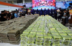 Thailand police shows one of its largest crystal methamphetamine busts during a news conference in Bangkok