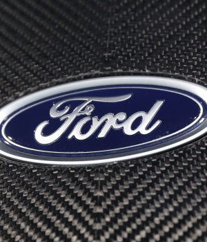 The Ford logo is seen at the New York Auto Show in New York