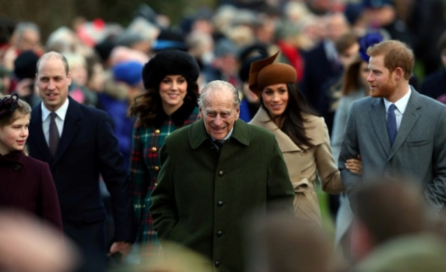 Britain's Prince Philip, the Duke of Edinburgh, leads members of the royal family as they arrive to attend the Christmas Day church service on the Sandringham estate in eastern England