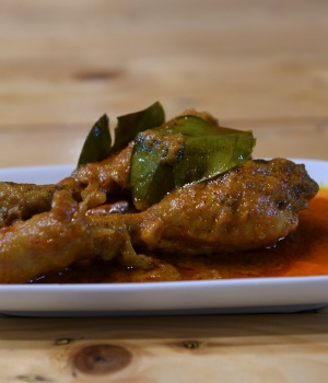 A plate of chicken rendang is pictured at a restaurant in Cyberjaya