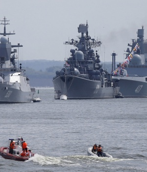 Russian navy ships are anchored in bay of Russian fleet base in Baltiysk in Kaliningrad region