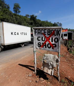 A road signage shows the Facebook Curio Shop near the Rift Valley town of Mai Mahiu
