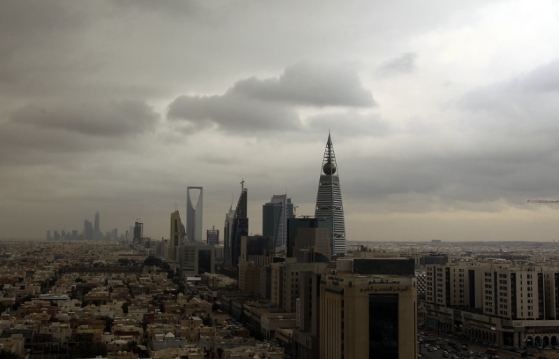 Clouds move over the Riyadh skyline