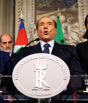 Forza Italia party leader Silvio Berlusconi speaks to the media during the second day of consultations with the Italian President Sergio Mattarella at the Quirinal Palace in Rome