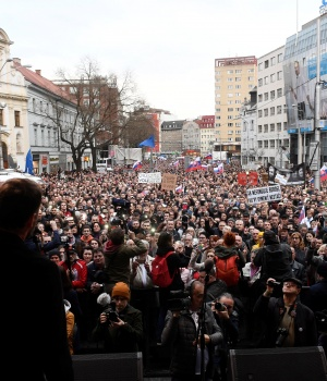 People attend a protest rally in reaction to the murder of Slovak investigative reporter Jan Kuciak and his fiancee Martina Kusnirova, in Bratislava