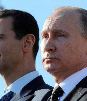 Russian President Putin and Syrian President Bashar al-Assad visit the Hmeymim air base in Latakia Province