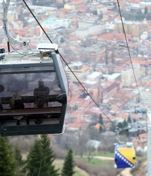 The Trebevic cable car is seen above the city of Sarajevo during a test drive following the restoration of the line after 26 years
