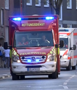 An ambulance arrive near a place where a vehicle drove into a group of people killing several and injured many in Muenste