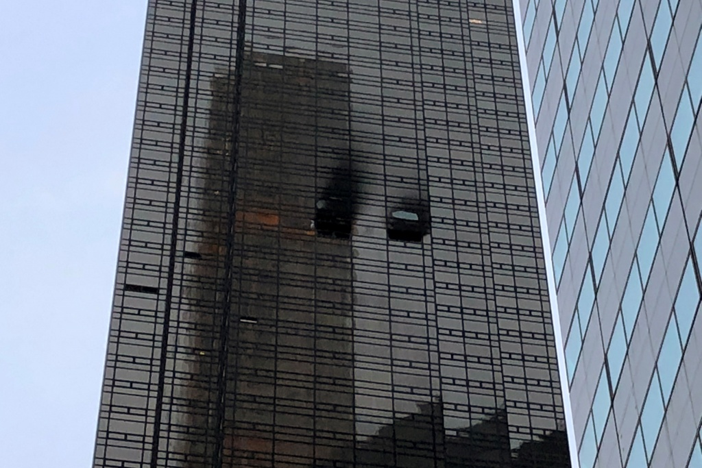 A residential unit is pictured following a fire at Trump Tower in the Manhattan borough of New York City