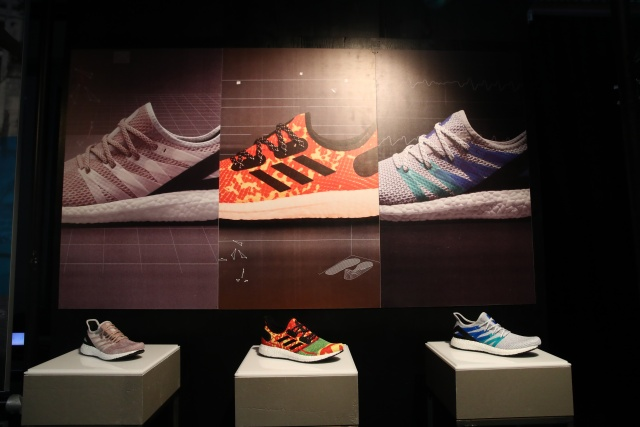 Adidas sport shoes are seen before the company's annual news conference in Herzogenaurach