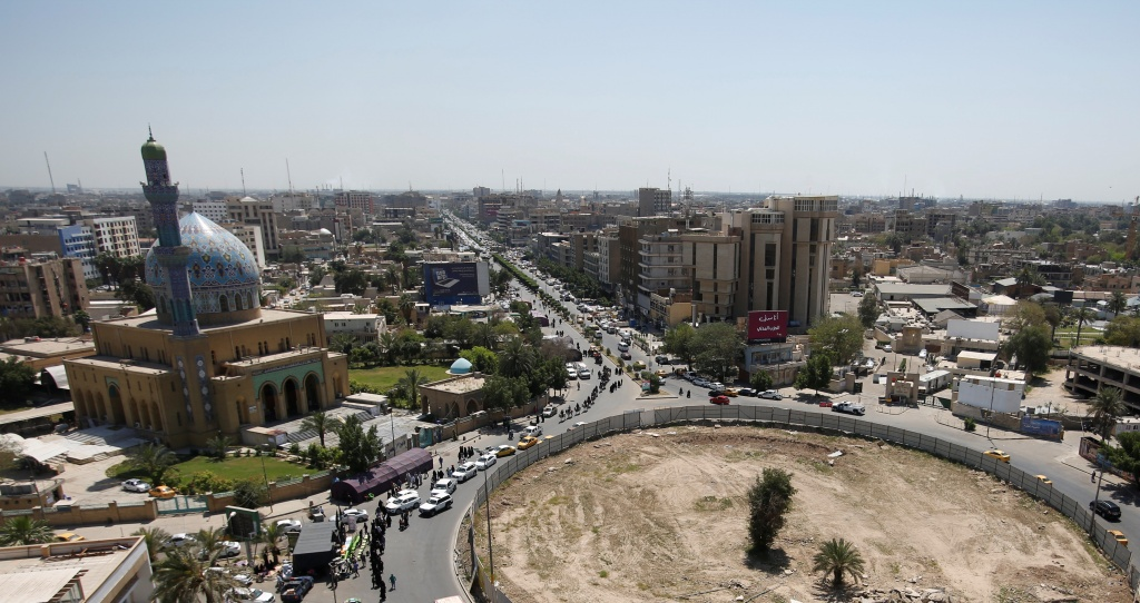 View of al-Firdous Square, where Hussein statue was pulled down by U.S. Marines in 2003 in Baghdad