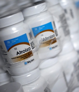 Atroiza, an antiviral medicine is seen at a clinic pharmacy in Alexander township