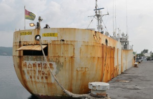 Fishing boat STS-50 is seen at the port, after being seized by the Indonesian Navy in Sabang