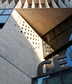 The exterior facade of the Central European University, a school founded by by U.S. financier Soros, is seen in Budapest