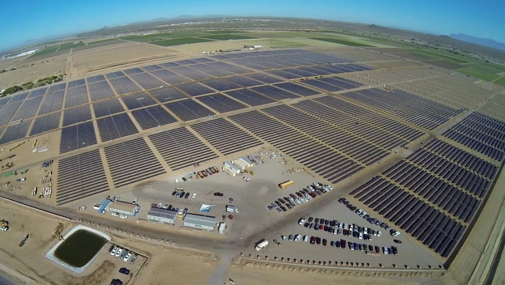 Apple's 50-megawatt solar farm in Arizona is pictured in this handout photo