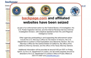 A screen grab of the home page of the website backpage.com is pictured after U.S. law enforcement agencies seized the sex marketplace website