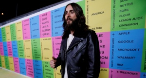 """Lead singer of Thirty Seconds to Mars Leto attends a launch party for the album """"America"""" at a pop-up museum called """"Museum of America"""" in Los Angeles"""