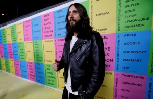 "Lead singer of Thirty Seconds to Mars Leto attends a launch party for the album ""America"" at a pop-up museum called ""Museum of America"" in Los Angeles"