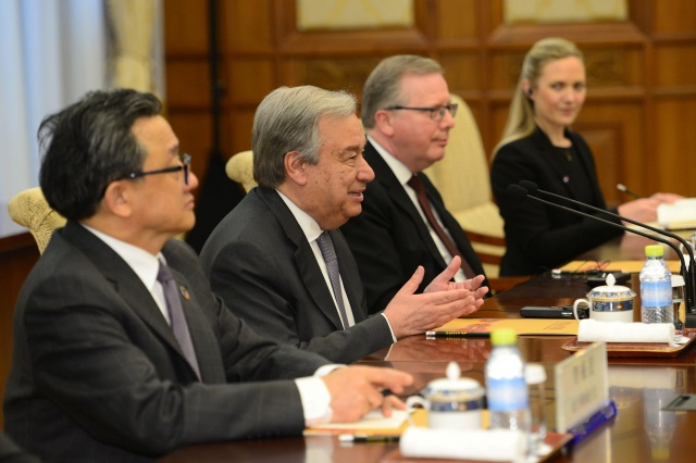 U.N. Secretary-General Antonio Guterres speaks with Chinese Premier Li Keqiang (not pictured) during their meeting at the Diaoyutai State Guesthouse in Beijing