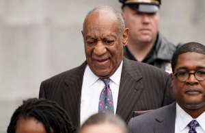 Actor and comedian Bill Cosby departs after the first day of retrial at the Montgomery County Courthouse in Norristown, Pennsylvania