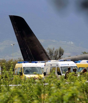 Algerian military plane is seen after crashing near an airport outside the capital Algiers