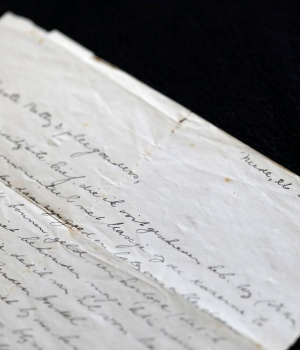 A letter written in Dutch to 76-year-old Holocaust survivor Betty Kazin Rosenbaum by her mother before she was killed in the Holocaust is seen in her house in Zichron Yaakov