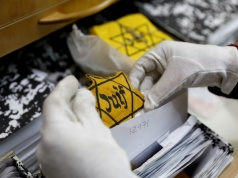 An original yellow star is seen at the artifacts department of the Yad Vashem World Holocaust Remembrance Center in Jerusalem, ahead of the Israeli annual Holocaust Remembrance Day