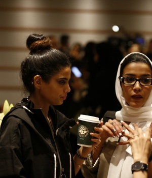 Women attend the Arab Fashion Week in Riyadh
