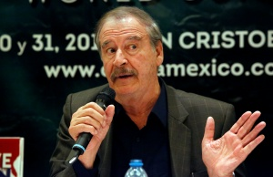 Former Mexican President Vicente Fox gestures during a news conference to announce the cannabis forum CannaMexico World Summit in Mexico City