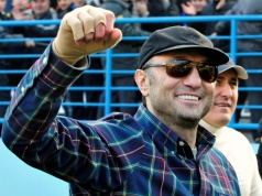 Dagestani born tycoon Kerimov watches a soccer match between Anzhi and CSKA in Moscow