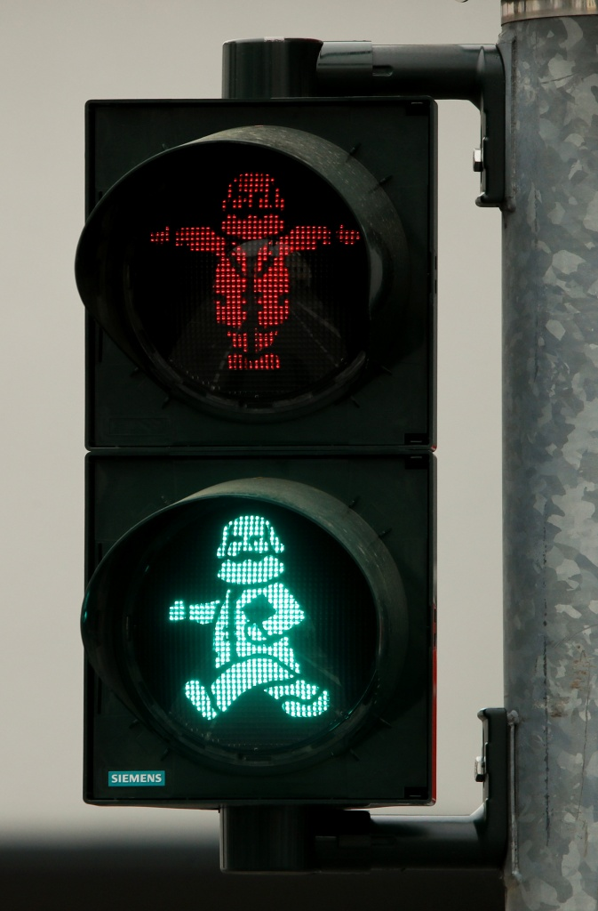 An image of German philosopher Karl Marx is seen in a traffic light for passengers in his hometown in Trier