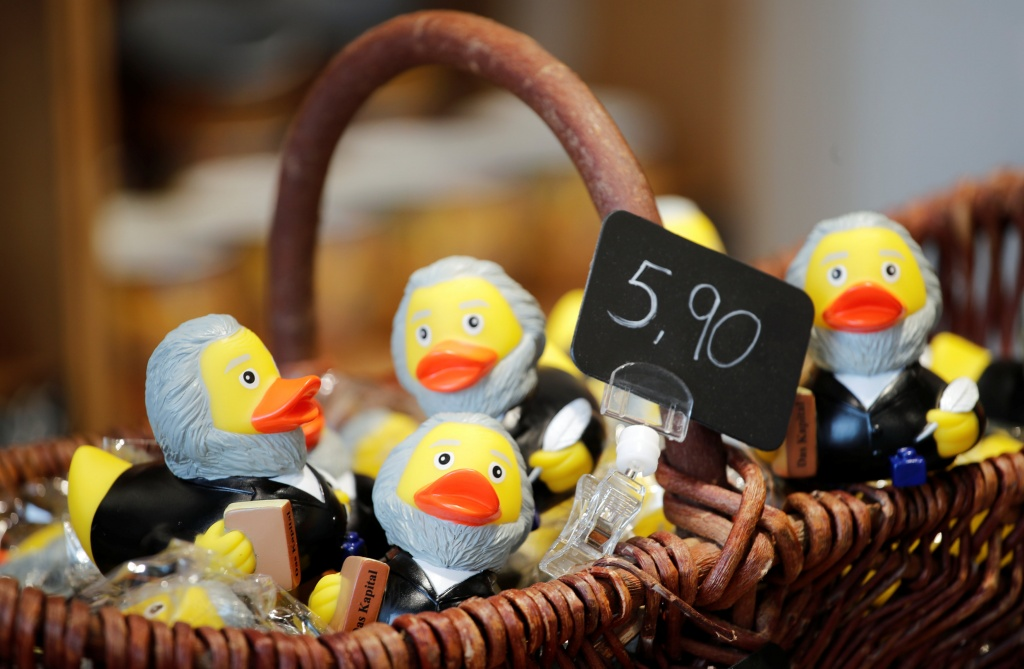 Rubber ducks depicting German philosopher Karl Marx are for sale at the price of 5.90 euro at a souvenir shop in his hometown in Trier
