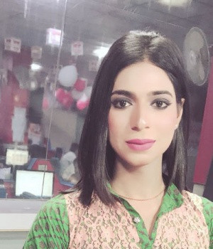 Marvia Malik, at the Kohenoor television studio, in Lahore, Pakistan. Picture taken March 25, 2018/Thomson Reuters Foundation/Zile Huma