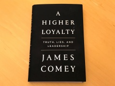 "A copy of former FBI director James Comey's book ""A Higher Loyalty"" is seen in New York City"