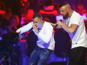 German rappers Kollegah & Farid Bang perform during the 2018 Echo Music Award ceremony in Berlin