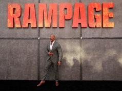 "Cast member Dwayne Johnson poses at the premiere for the movie ""Rampage"" in Los Angeles"