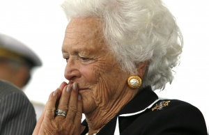 Former first lady Barbara Bush attends the christening ceremony of the USS George H.W. Bush in Virginia