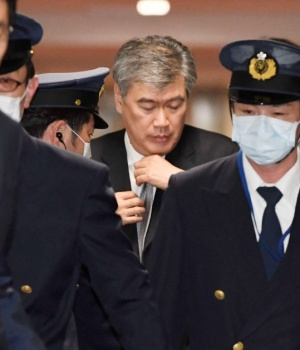 Japan's Vice Finance Minister Fukuda leaves the ministry in Tokyo