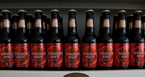 Bottles of Harry and Meghan's Windsor Knot pale ale are seen on display at the Windsor and Eton brewery in Windsor