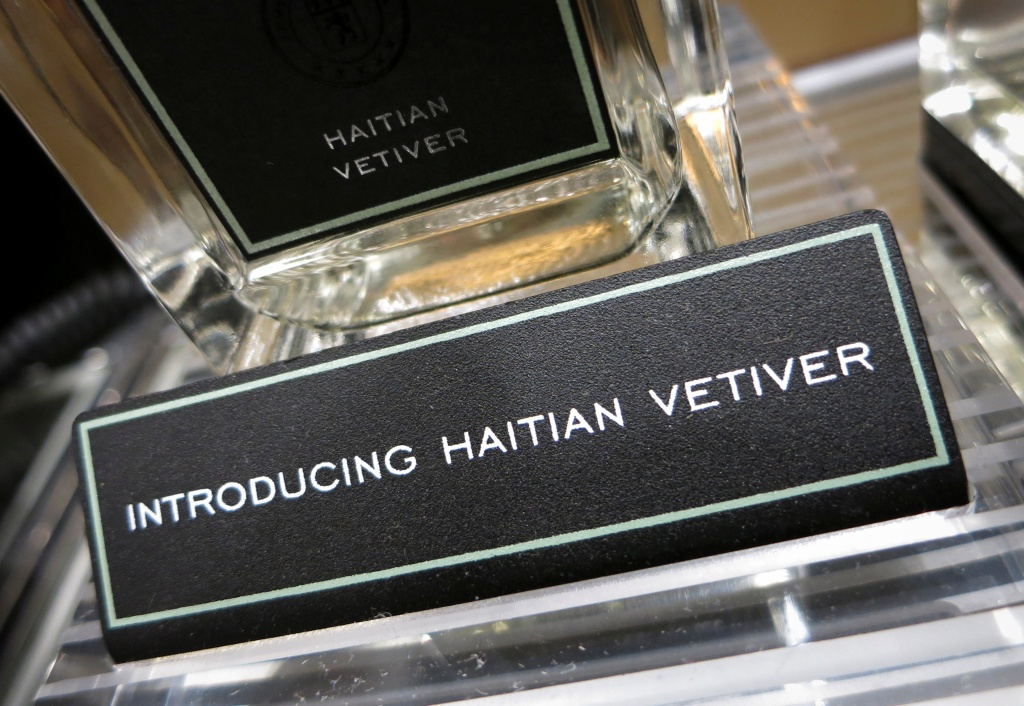 A bottle of Ermenegildo Zegna Hatian Vetiver is pictured on display at a high end retail store in New York