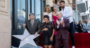 Eva Longoria reacts on the Hollywood Walk of Fame in Los Angeles