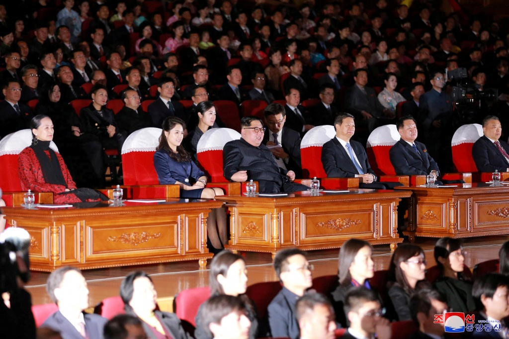 North Korean leader Kim Jong Un, his wife and head of the China's Communist Party's International Department Song Tao watch a ballet performance