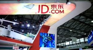 A sign of China's e-commerce company JD.com is seen at CES Asia 2016 in Shanghai