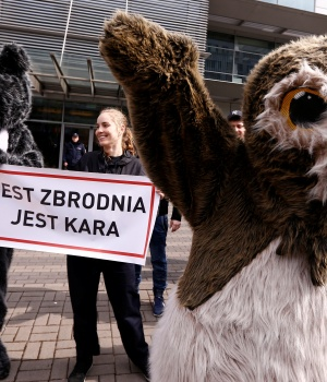 Environmental activists demonstrate after the European Union's highest court ruled on that Poland broke environmental laws in the ancient Bialowieza forest, in Warsaw