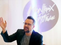 Montreux Jazz Festival Director Mathieu Jaton speaks during an interview with Reuters after announcing performers booked for the 52nd annual edition of the famed Swiss jazz festival in July, in Montreux