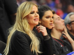 Television personalities Khloe Kardashian and Kendall Jenner in attendance as the Houston Rockets play against the Los Angeles Clippers in Los Angeles