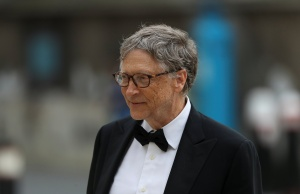 Bill Gates, Co-Chair of Bill & Melinda Gates Foundation arrives to attend the Commonwealth Business Forum Banquet at the Guildhall in London