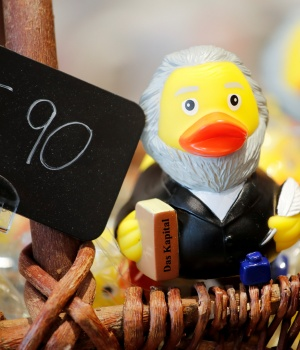 A rubber duck depicting German philosopher Karl Marx is for sale at the price of 5.90 euro at a souvenir shop in his hometown in Trier